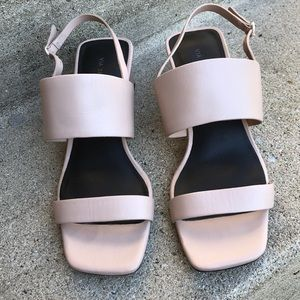 Via Spiga blush pink block sandals square toe 7m